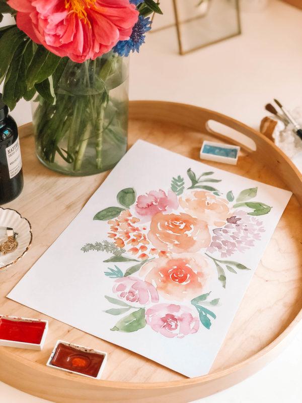 Blooming akvarell fesmény