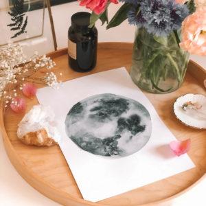 hold akvarell festmény
