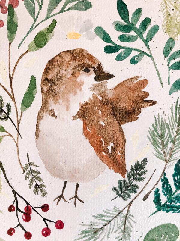 Bird from Green Gables – A4 akvarell festmény
