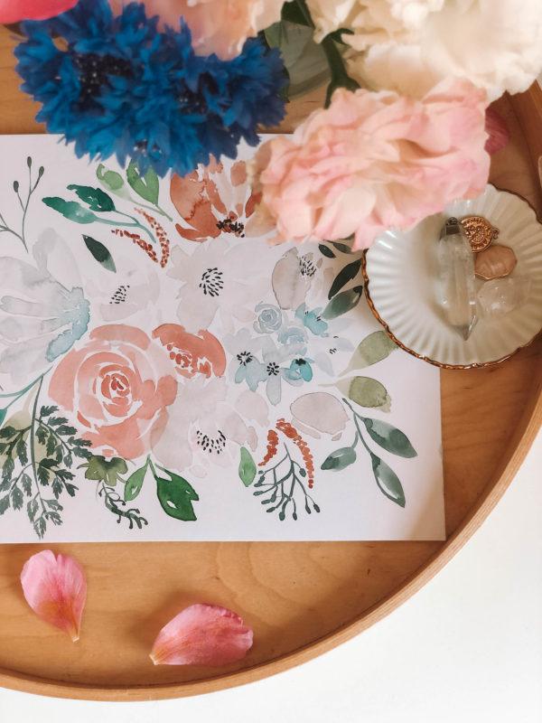 Pastel bouquet – A4 akvarell festmény