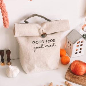 Good Food- Kézzel hímzett len táska